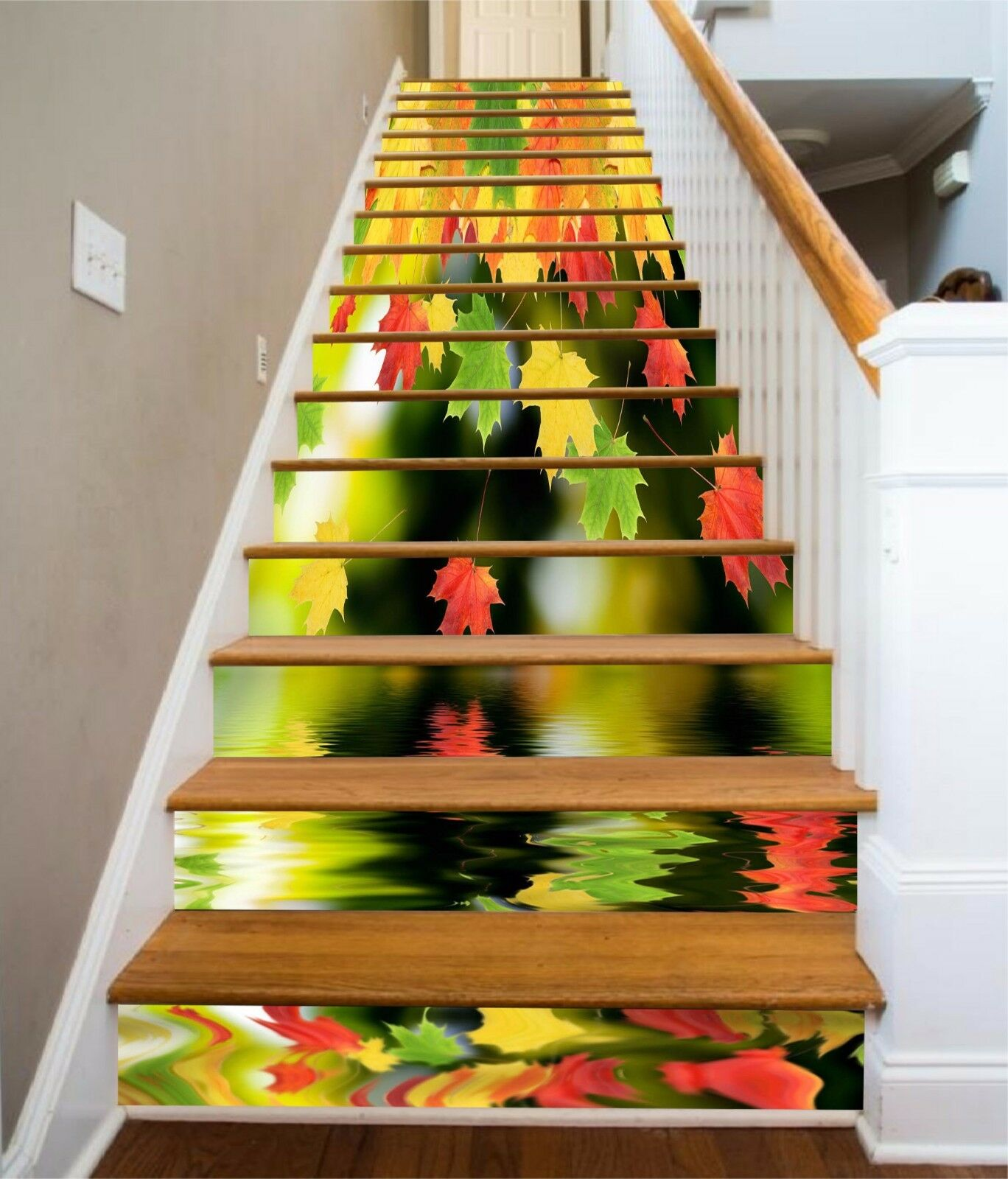 3D color Leaves 31 Stairs Risers Decoration Photo Mural Vinyl Decal Wallpaper US