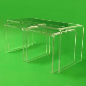 Image Is Loading Clear Acrylic Plastic Nest Of 3 Tables Bedside  Part 58