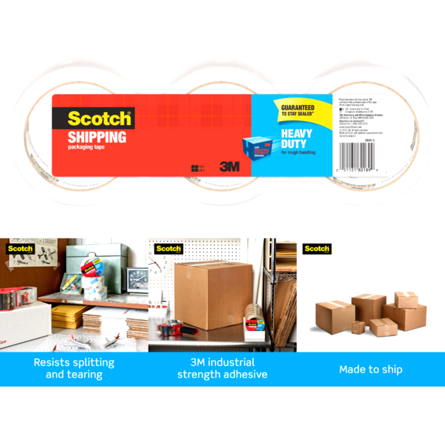 3 Rolls Scotch 3M Storage Packing Tape Heavy Duty for sale online