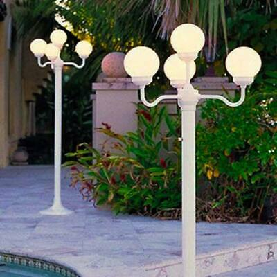 Four Head Luminaire White Globe, White Lamp Post With House Number