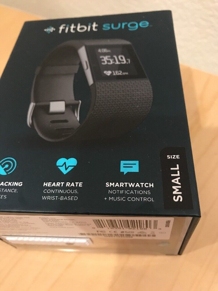 BRAND Surge NEW SEALED Fitbit GPS Heart Rate Surge BRAND Fitness Watch FB501BKS Größe Small d8100d
