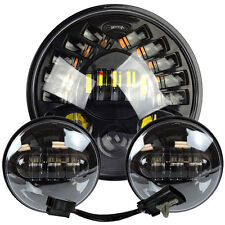 """7"""" Led Projector Daymaker Headlight + Passing Lights For Harley Touring Black 5"""