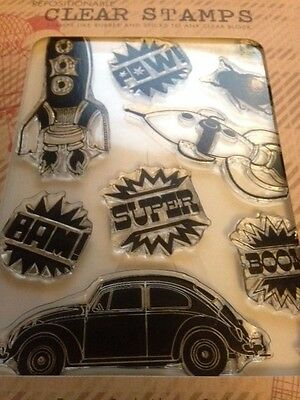 Basic Grey Hero Arts Bow Ties BAM! Clear Stamps Rocket Ship Space Volkswagen Bug