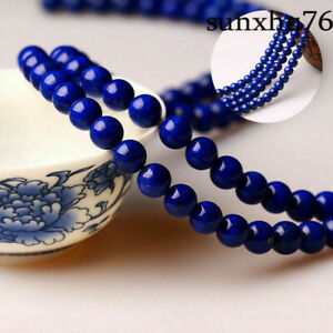 Natural-Lapis-lazuli-Gemstone-Round-Spacer-Loose-Beads-4-6-8MM-15-034-Blue