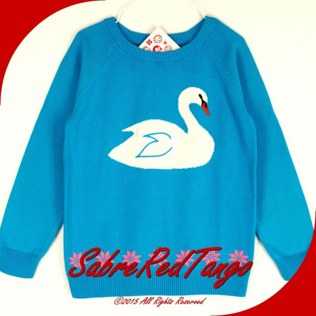 NWT HANNA ANDERSSON CRITTER SWEATER FOLKTALE TEAL SWAN 130 8