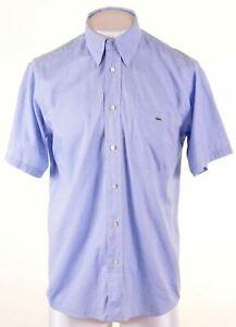 LACOSTE-Mens-Shirt-Short-Sleeve-Size-41-Large-Blue-Cotton-NC01