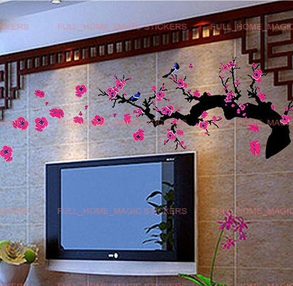 Removable Plum Tree Blossom Flowers Wall Stickers Art decal Bedroom Lounge Study