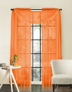 orange scarf sheer voile window curtain drapes valance. Black Bedroom Furniture Sets. Home Design Ideas