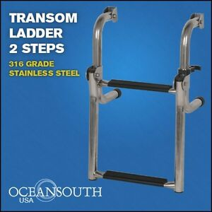 Transom Ladder Stainless Steel Folding 2 Steps Ebay