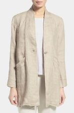 EILEEN FISHER Jacket PM M Natural Organic Linen Doubleweave Stand Collar Coat