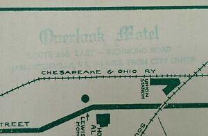 1954 Overlook Motel Charlottesville Virginia Map Travel Brochure Albemarle Co