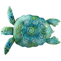 Sea Turtle Metal Wall Decor 20in Living Room Hand Painted Sculpture Garden Porch