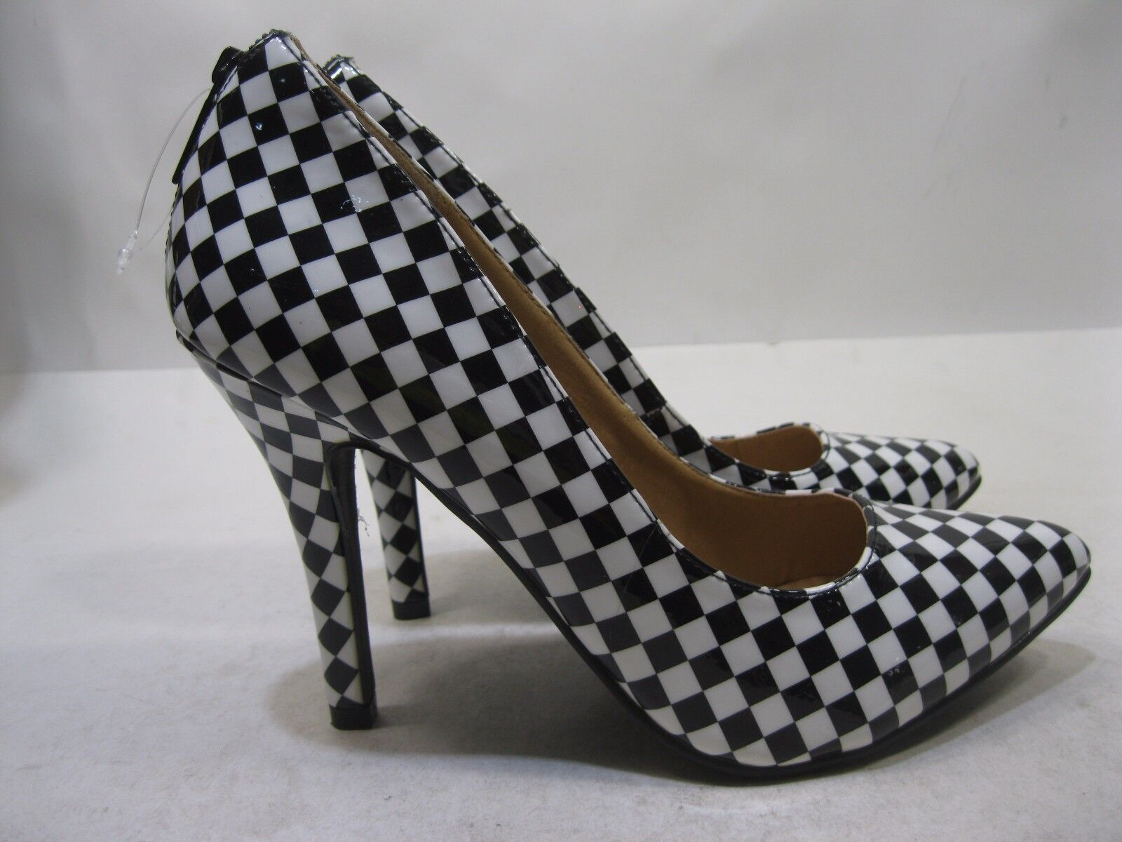 Womens Black White 4.5 High Heel Checker Pointy Toe Sexy shoes Size 5.5