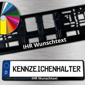 2-schwarze-KENNZEICHENHALTER-mit-Wunschtext-einfarbig-BEDRUCKT-Sonderangebot