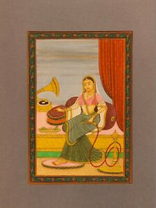 Hand-Painted-Mughal-Maharani-Queen-Portait-Miniature-Painting-India-Paper-Art