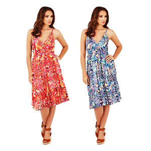 ee418a4d9 Pistachio Womens Red Or Blue Spotted Aztec Print Strappy Knee Length ...
