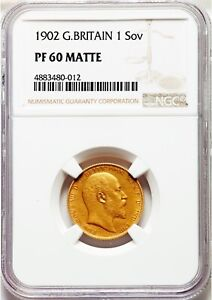 1902-Great-Britain-1-Sovereign-Edward-VII-Gold-MATTE-Proof-PR-60-NGC
