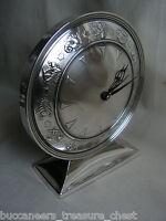 1920s ART DECO DUTCH SILVER ZODIAC SIGNS BOSMA DESK MANTEL CLOCK MACHINE AGE