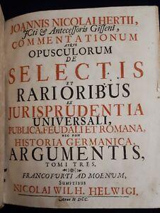 Nicolai-Hertii-Commentationum-atque-opuscolorum-2-Volumi-Francoforte-1700-1713