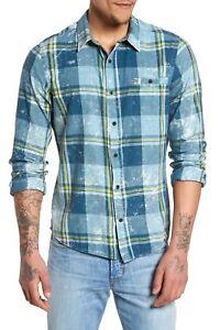 Hurley-Men-039-s-Burnside-Plaid-Long-Sleeve-Button-Front-Shirt-Space-Blue