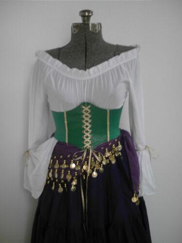Esmeralda Corset Belt Costume Disney Cosplay Gypsy Halloween Pirate Women Green