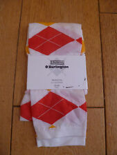 BURLINGTON WHITE RED YELLOW DIAMOND 3/4 CROPPED FOOTLESS TIGHTS  SMALL S