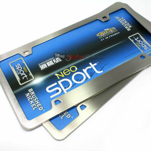 Neo Sport Brushed Nickel Metal License Plate Tag Frames for Auto-Car-Truck 2
