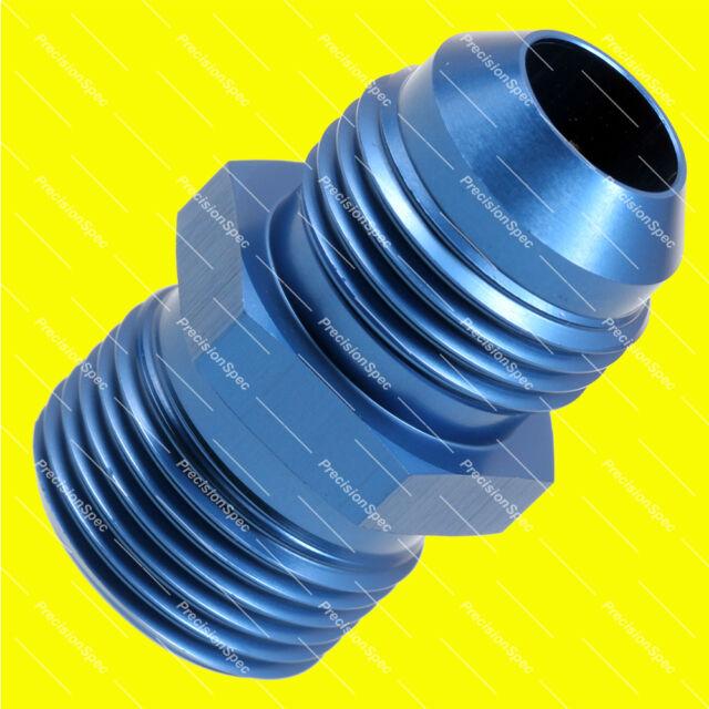 AN8 8AN JIC FLARE to M20 x 1.5 METRIC STRAIGHT FUEL OIL FITTING ADAPTER - BLUE