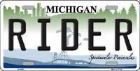 Rider Michigan Metal Novelty License Plate
