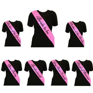 Pink-Hen-Night-Party-Sashes-Bride-To-Be-Bridesmaid-Mother-Of-Maid-Of-Sash-GIRLS
