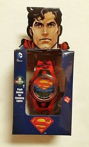 New-Boys-Girls-Superman-LCD-Flashing-lights-watch-Black-DC-Comics-SHIPS-FAST