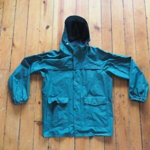 Vintage-Columbia-Rain-Jacket-Hooded-Coat-PVC-Nylon-Lined-Vented-Men-039-s-Size-M