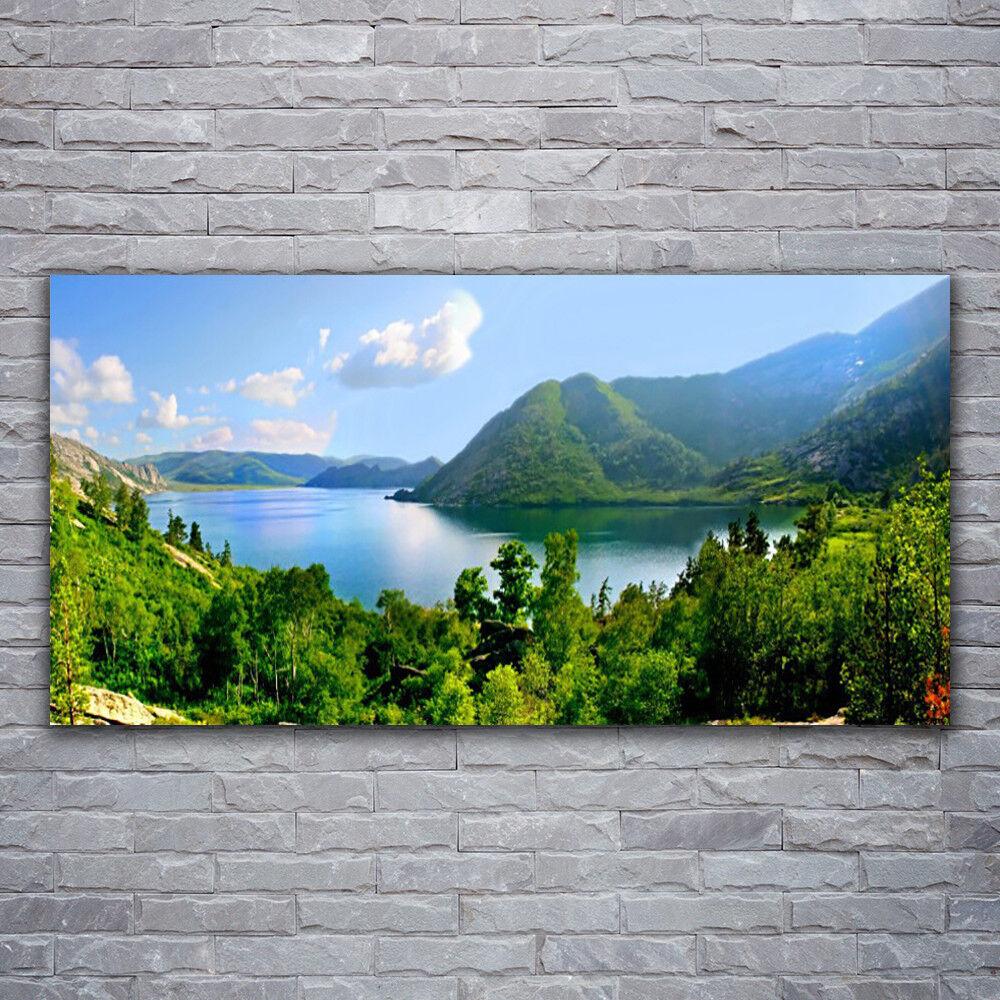 Photo sur toile Tableau Image Impression 120x60 Paysage Forêt Lac Montagnes