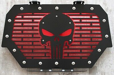 14-16 Polaris RZR 1000 Skull Flame Brushed Stainless Radiator Cover Grille fits