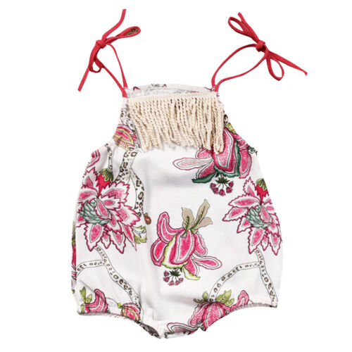 Toddler Baby Girl Boho Floral Romper Summer Sleeveless Tassel Jumpsuit Outfits