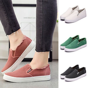 Women-039-s-Girls-Flat-Shoes-Casual-Sports-Loafers-Canvas-Shoes-Slip-On-Sneakers