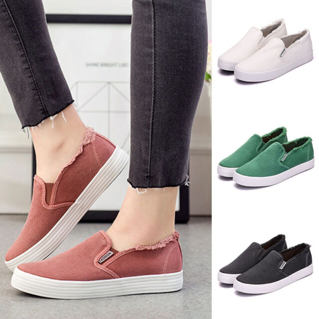 Pop Women Flat Shoes Canvas Sports Loafers Ladies Girls Casual Slip On Sneakers