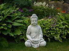 Top Modell großer massiver Stein Buddha Farbe grau Mönch aus Steinguss frostfest