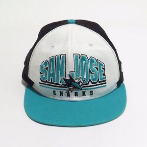 Vintage-San-Jose-Sharks-Hat-Cap-Snapback-New-Era-FITS-NHL-Hockey-Teal