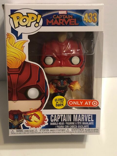 "Funko Pop! Marvel CAPTAIN MARVEL #433 (GITD) ""Target Exclusive"" Vinyl Figure-NIB"