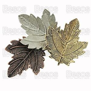 AUTUMN-LEAVES-vintage-copper-silver-gold-tone-BROOCH-PIN-antique-effect-GIFT-BOX