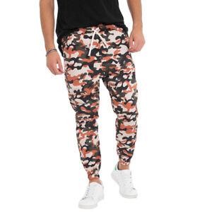 Pantalone-Uomo-Elastico-Mimetico-Bicolore-Casual-Cavallo-Basso-Arancione-GIOSAL