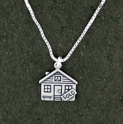 """Real Estate House Sold Sign Pendant Necklace Sterling Silver 18/"""" Box Chain"""