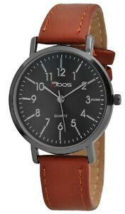 Qbos-Damenuhr-Schwarz-Braun-Analog-Metall-Kunst-Leder-Armbanduhr-X1900229003