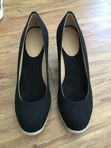 02fcc2d3c39 Details about J.Crew Women's Canvas Espadrille Wedges, Black, Size 9, Brand  New