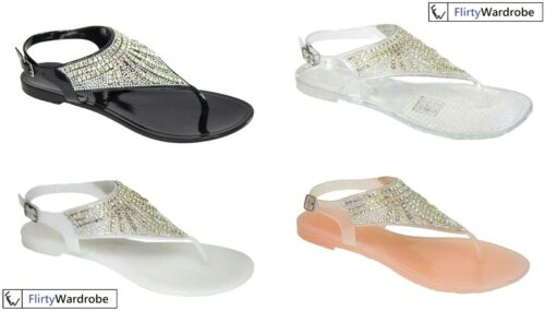 Jelly T-bar Flat Sandals Diamante Crystal Ankle Strap Summer Shoes Womens Ladies