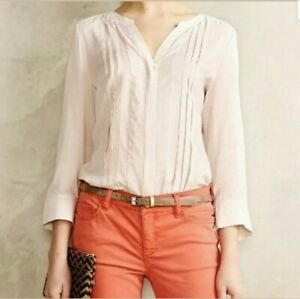 Maeve-Anthropologie-Blush-Pink-Womens-Button-Down-Blouse-Shirt-Top-Rayon-Size-2