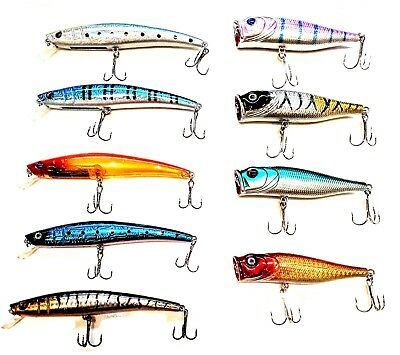 USA LOT OF 10 FISHING LURES TOP WATER POPPER VIB BAIT HARD SWIMBAIT BASS