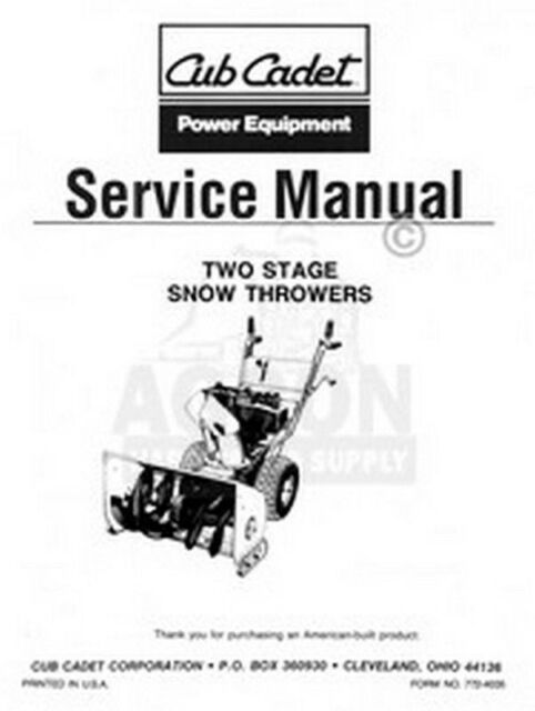 Cub Cadet 450 Two 2 Stage Snow Thrower Service Manual For Sale Online Ebay