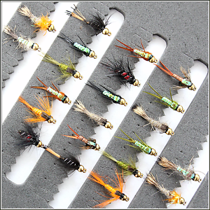 12 or 14 Trout Fishing Flies Gold Head Nymph Buzzers 33J-22 Hook sizes 10